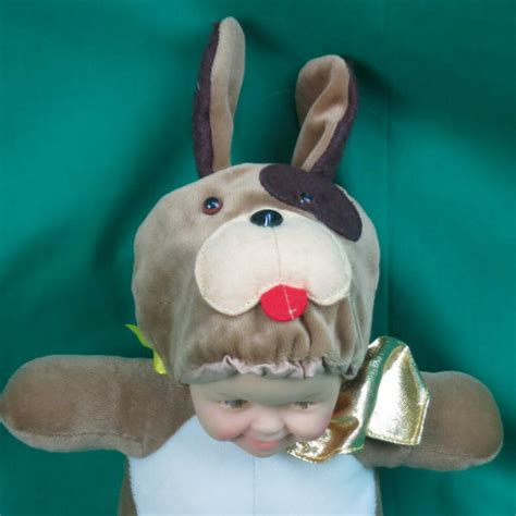 funny rubber face baby doll  puppy dog costume plush
