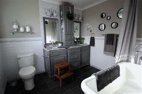 Grey And White Traditional Bathroom