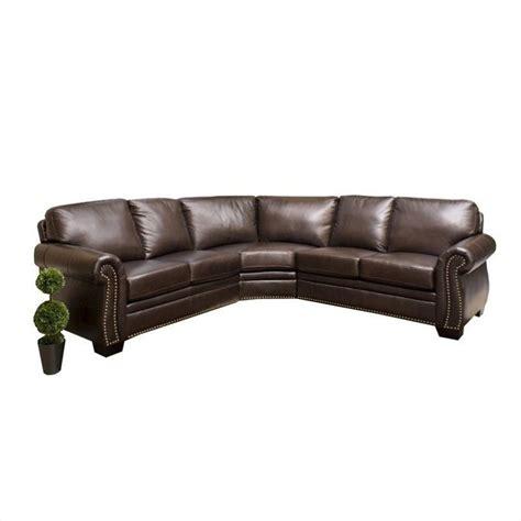 abbyson living leather sofa abbyson living arizona 3 piece leather sectional sofa in