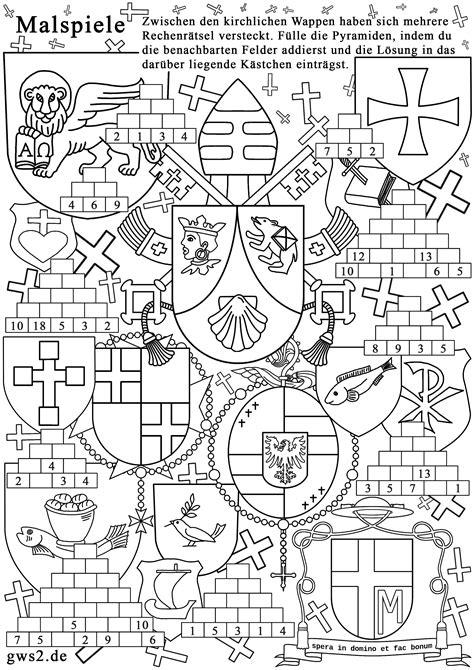 wappen zum ausmalen rechenspiele fuer kleine heraldiker