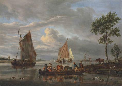 Ferry Abraham by Abraham Storck Amsterdam 1644 1708 A River Landscape