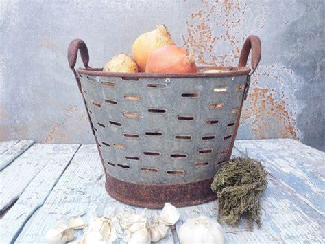 Small Rustic Metal Olive Bucket Old Handmade
