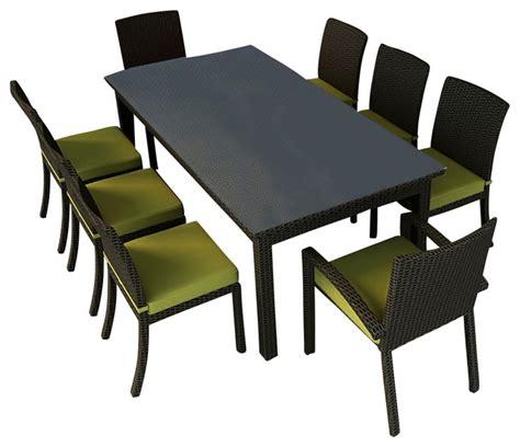 barbados 9 wicker patio dining set kiwi cushions