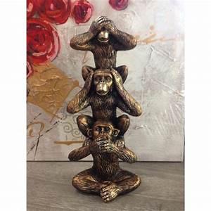 Statue Singe De La Sagesse : statuette animal mini totem singes de la sagesse ~ Teatrodelosmanantiales.com Idées de Décoration