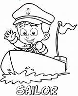 Sailor Coloring Boat Pages Printable Professions Topcoloringpages Sheet Children Easy sketch template