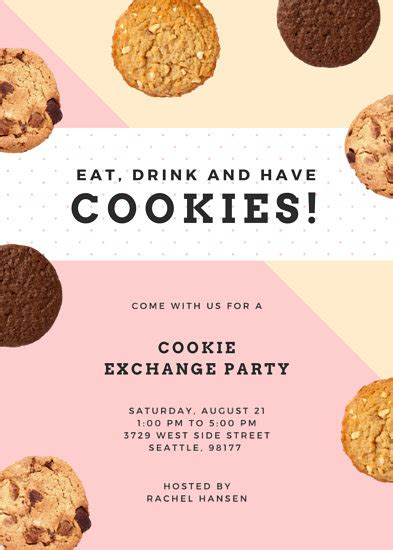 cookie exchange party flyer templates  canva