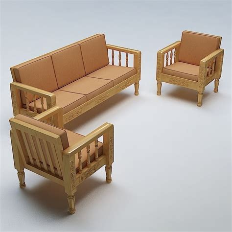 Wooden Sofa Set Shopping by Sofa Set Wooden 3d Cgtrader