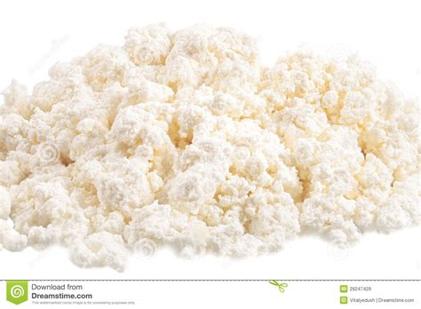 cottage cheese curd fresh cottage cheese curd heap isolated on white