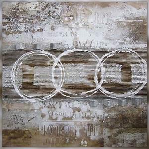 tableau design facon rauschenberg 100 x 100 cm With couleur beige peinture murale 16 tableau style industriel contemporain