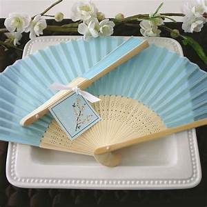 light blue silk hand fans beach theme wedding favors With fans for wedding favors