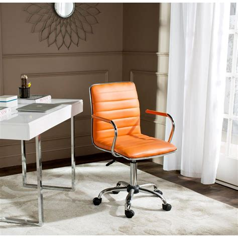 safavieh jonika orange leather office chair fox7520d the
