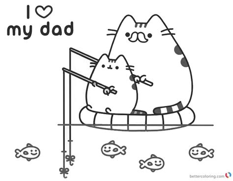 pusheen coloring pages  love  dad  printable