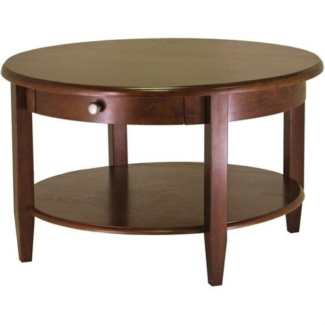 round wood coffee table winsome concord round wood walnut coffee table ebay