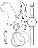 Coloring Pages Jewelry Necklace Beads Sheets Baubles Twofer Printable Bracelet Earrings Pearl Template Ariel Clrg sketch template