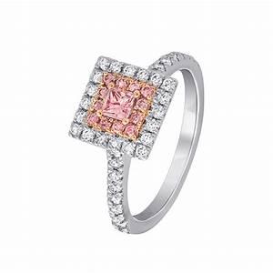 One 18ct white gold argyle pink princess cut halo diamond for Princess cut pink diamond wedding rings