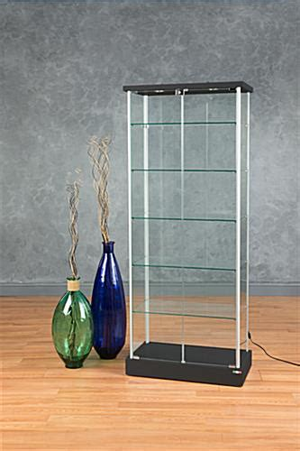used lockable glass display cabinets retail glass display case 2 led lights hidden casters