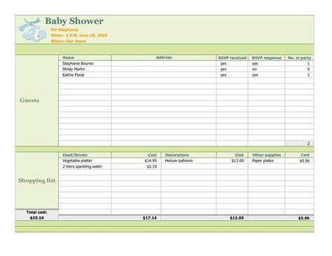 baby shower planning template baby shower planning checklist baby shower planner excel