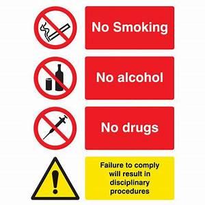 No smoking, drugs & alcohol signs - 3668 - Proshield ...