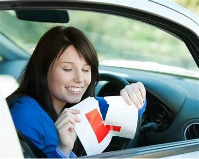 Driver Teen Test Driving Brunette Sign Sitting