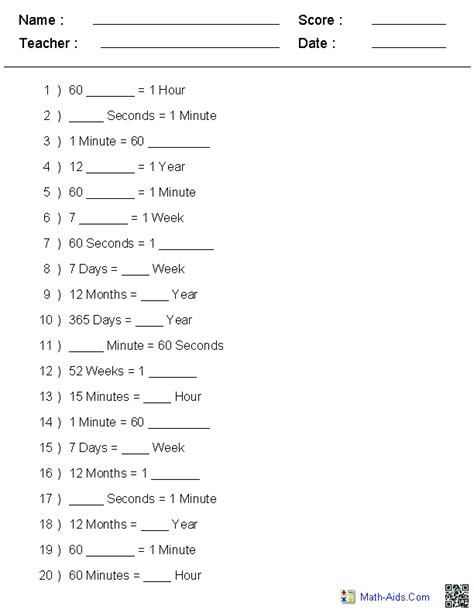 time units worksheets worksheets and math on