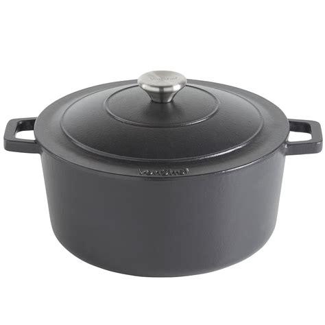 cast iron cooking vonshef 4 5l black enamel cast iron oven casserole dish stewing cooking pot ebay
