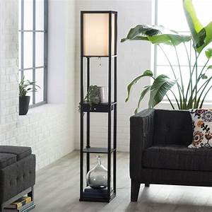 adesso parker 3133 shelf lamp with drawer black floor With floor lamp with shelves and drawer