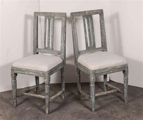 swedish gustavian blue painted slat back dining chairs