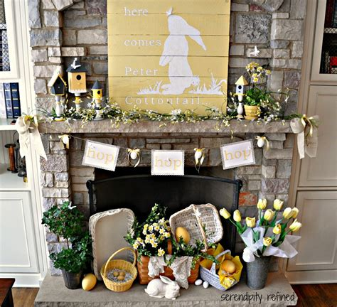 easter mantel here comes peter cottontail spring mantel fox hollow cottage