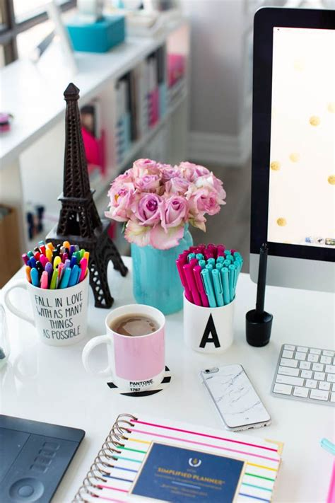 how to decorate a desk pink and blue desk accessories simplified planner studio