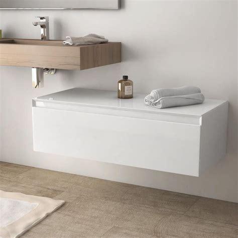 meuble rangement salle de bain meuble de rangement 100 cm blanc brillant aragon