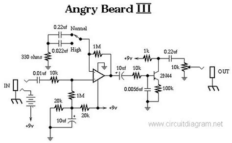 angry beard iii electric guitar effect circuit schematic