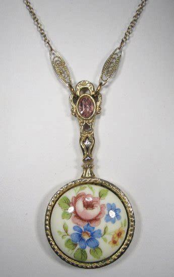 vintage revival  floral mirror pendant necklace wc