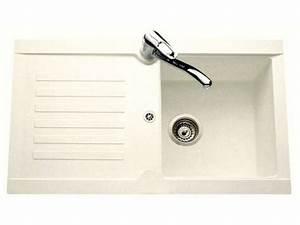 Evier En Gres Blanc 1 Bac : evier en r sine 1 bac 1 gouttoir blanc bobby coloris ~ Premium-room.com Idées de Décoration