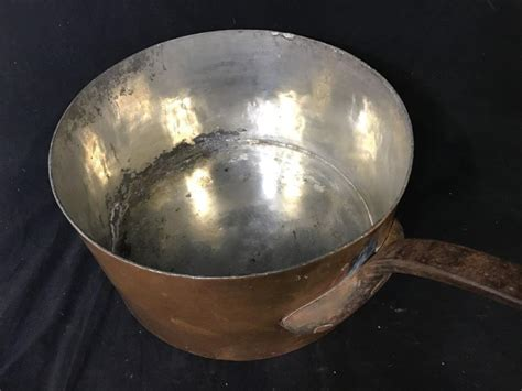 antique large french copper sauce pan
