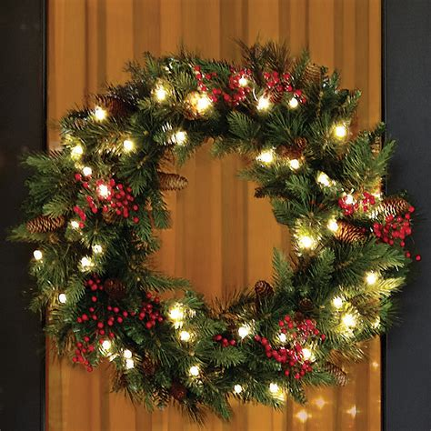 outdoor wreaths with lights happy holidays