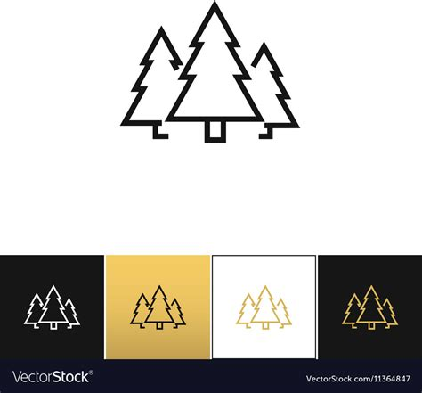 Forest Symbol Or Evergreen Trees Icon Royalty Free Vector