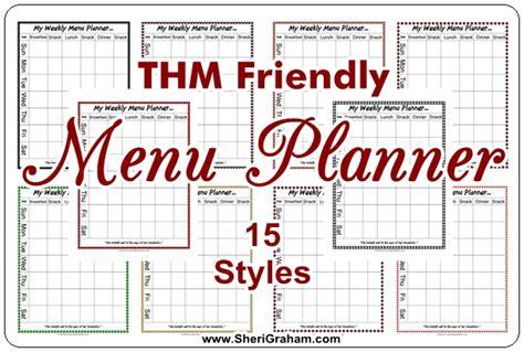 Trim Healthy Mama Weekly Food Log Template by Thm Friendly Editable Menu Planner 15 Styles Free