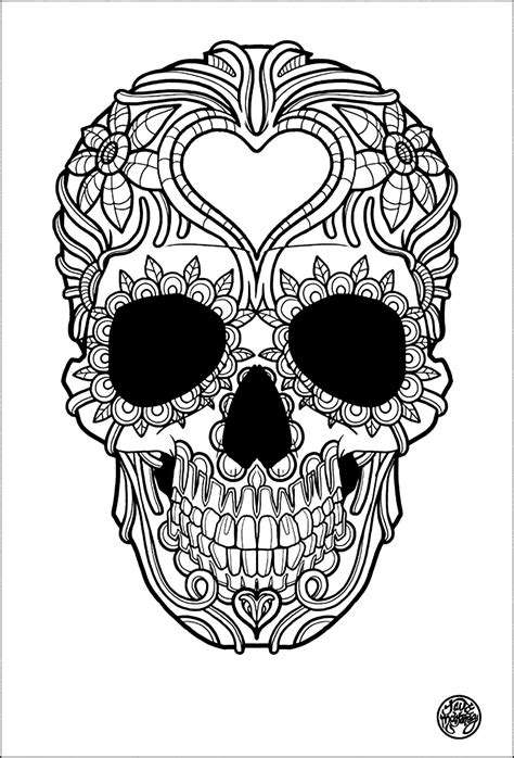 Tattoo simple skull tattoo - Tattoos Adult Coloring Pages