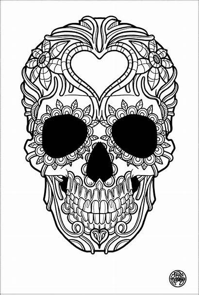 Skull Tattoo Simple Coloring Adult Tattoos Tatoo