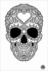 Adult Colouring Tattoo Skull Printables Number Everyone Coloring Simple sketch template