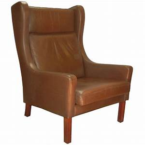 Leather, Wing, Chair, In, Danish, Modern, B, U00f8rge, Mogensen, Style, Circa, 1970, At, 1stdibs
