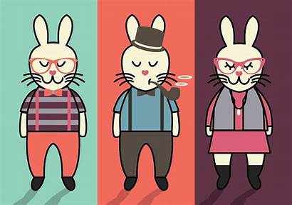 Bunny Hipster Easter Vector Vectors Clipart Egg