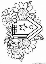 Birdhouse Coloring Pages Birdhouses Cute Birds Bird Printable Houses Templates Adults Plans Print Getcolorings Projects sketch template