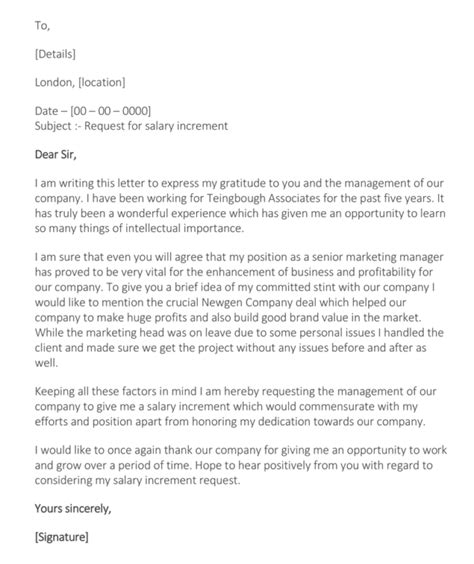 letter  salary increment   write request