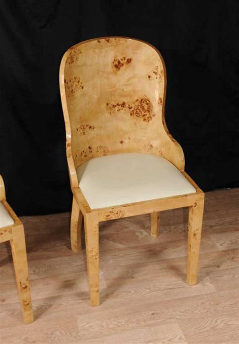 set  art deco dining chairs blonde walnut tub chair
