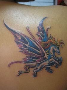 Interesting colorful pegasus with butterfly wings tattoo ...