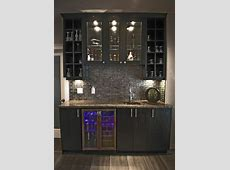 Home Wet Bar Designs w glass backsplash, built in counter