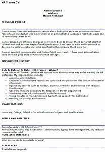 Cv Templates For It Professionals Hr Trainee Cv Example Icover Org Uk