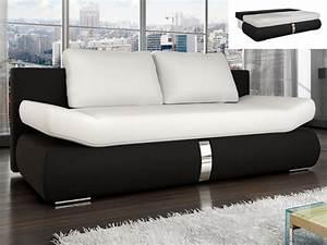 Canape Convertible Noir : canap convertible en simili blanc et noir jaden ~ Teatrodelosmanantiales.com Idées de Décoration