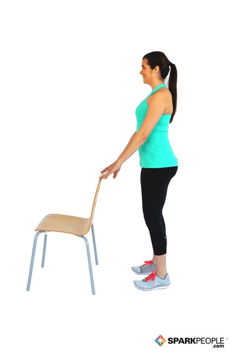 Chair Leg Raises Exercise by Calf Raises With Chair Exercise Demonstration Sparkpeople